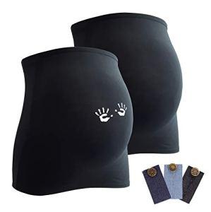 Mamaband Lot de 2 bandeaux de grossesse pour la boule de bébé 1 x Uni 1 x mains – Chauffe-dos et extension pour les femmes enceintes – Mode de grossesse élastique – Noir – Medium