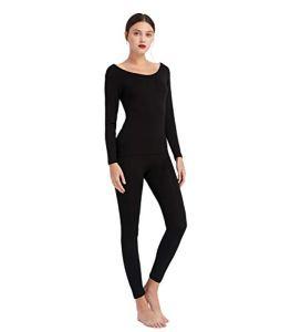 Mcilia Ensemble de sous-vêtement Thermique Ultra Mince en Modal pour Femmes,Base Layer Top et Leggings Noir X-Large (EU 48 50)