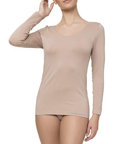 T-shirt intérieur femme manches longues Lycra sans coutures Seamless couleurs unies – Beige – Large-X-Large