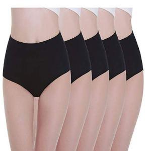 TUUHAW Culottes Femmes Lot de 5 Coton Taille Haute Slips Shorties Elasticité Ventre Plat Noir XL