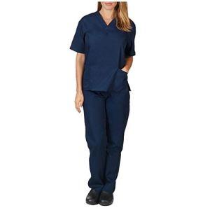 Unisexe Infirmière Uniformes Ensemble Coton Universel Label Blouse Tunique médicale Haut Portefeuille avec 3 Poches et Pantalon Hommes Femmes À Manches Courtes Col en V Tops (M, Marine)
