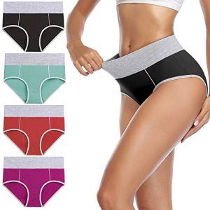 wirarpa Culotte Femme Coton Culottes Taille Haute Slip Sport Lot de 4 Taille S