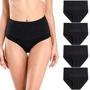 wirarpa Culottes Gainante Ventre Plat Femmes Coton Taille Haute Stretch Slip Grossesse Accouchement Culotte Lot de 4 Noir Taille S