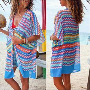 Xi-Link Été Imprimer Robe Mini Sheer Plage Dames Maillots de Bain Maillot de Bain Dissimulation Beachwear été Femme Robes (Color : Blue, Size : L)