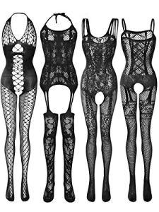 4 Pièces Bas de Lingerie en Maille pour Femmes Robes en Résille Bodys Résille Creux (Noir, XL – XXL)