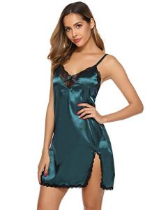 Aibrou Nuisette Femme Chemise de Nuit Femme Robe de Nuit Bretelles Reglables Robe de Chambre, Vert-kc, S