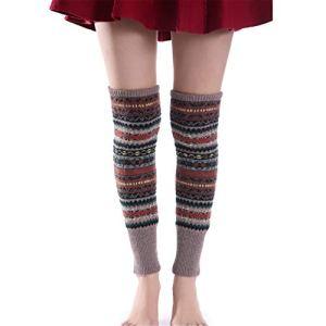 DYSCN Camouflage épais bottes longues chaussettes hiver tricot jambières bottes poignets pour femmes filles(Kaki)