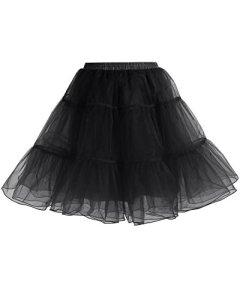 Gardenwed Jupon Femme Vintage en Tulle Jupe Courte Style Années 50s Rétro Petticoat Jupon Tutu Rockabilly Black S