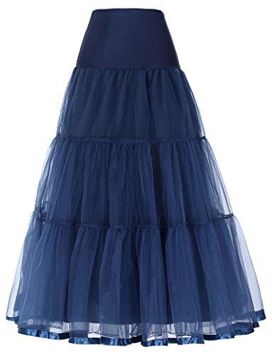 GRACE KARIN Jupon années 50 Vintage Retro en Tulle Rockabilly Petticoat Bleu Marine 4X CL421-6
