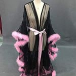 HYISHION Robe de Chambre en Tulle Plume, Femmes Sexy Robe Dentelle Robe de Chambre, Lingerie pour Femmes Sexy Lingerie Jupe Longue Vêtements Nuit