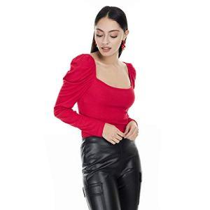 Lela 51919222 Body à Manches Courtes pour Femme – Rouge – L