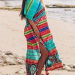 L-Peach Femme Kaftan Longue Robe de Plage Tunique Sarong Paréo pour Maillot de Bain Cover ups