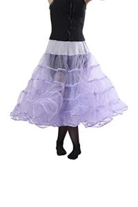 Malco Modes Melonie Luxury Child Crinoline Slip, Organza Binding, Adjustable Waist and Length, Stiff Double Layers for Moderate Lift for Rockabilly 50s, Everyday Wear (Large, Apple) Lilac