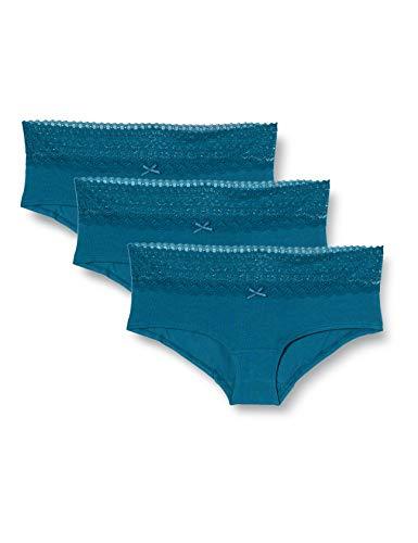 Marque Amazon – Iris & Lilly Shorty en Coton Femme, Lot de 3, Bleu (Legion Blue), XS, Label: XS