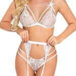 Popiv Lingerie sexy en dentelle pour femme – Blanc – Large