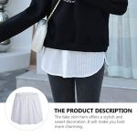 PRETYZOOM Femmes Faux Chemise Blanche Jupe Détachable Réglable Fausse Couche Inférieure Chemisier Queue Unisexe Décontracté Basique Balayage Demi-Jupe Costume Pull Extender