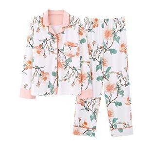 Pyjama De Dames Pantalon Femmes Les Pyjamas en Coton Occasionnels Costume Costume Deux Boutons Devant Sa Femme Et Sa Fille Costume Longues Pantalon Manches (Couleur : Photo Color, Taille : XXL)