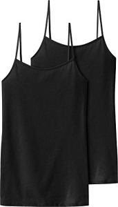 Schiesser – Haut thermique Femme – Spaghettitop (2er Pack) – Noir (schwarz 000) – FR : 38 (Taille fabricant : 36)