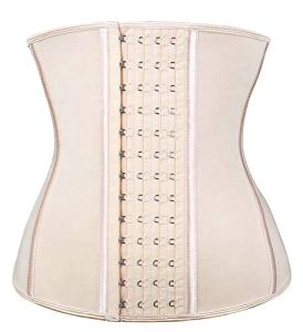 SHAPERX Femmes Latex Corset Taille Formateur Waist Cincher Bustier Ventre Plat Minceur Underbust Body Amincissant,UK-DT11788-Beige-L
