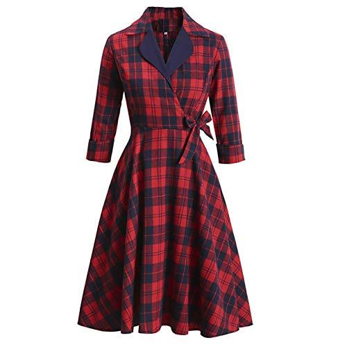 SSBZYES Dames Européennes Et Américaines Automne Et Hiver Nouvelle Robe De Tempérament Rouge à Manches Longues De Style Rétro