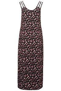 Ulla Popken Femme Grandes Tailles Chemise de Nuit, Roses, triples Bretelles Noir 44/46 723970 10-42+