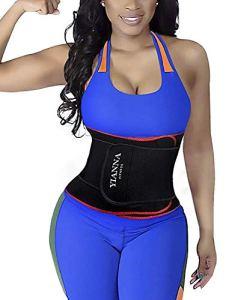 YIANNA Waist Trimmer AB Belt for Men&Women Waist Cincher Slimming Belt Body Shaper with Back Support Gym Woukout,UK-YA8010-Red-(S/M)