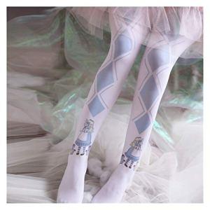 YUNGYE Lolita Allongé Bas Blue and White Miss Bas imprimé Stock (Size : One Size)