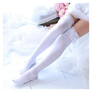 YUNGYE Lolita Black and White JK High High Cos Cuisse Bas en Dentelle Bas Bas Studiants Stock Uniforme (Color : White, Size : One Size)
