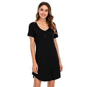 XHJZ Bouton de Chemise de Nuit à Manches Courtes pour Femmes en Pyjama Nightshirt S-XXL,Noir,S