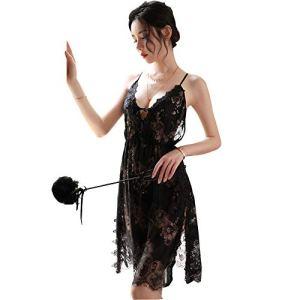 Zhulongjin Lingerie Sexy for Femmes Transparent Black Lace Bracelet Femme Chemise de Nuit Tentation Pyjama Ladies Sheer sous-vêtements érotiques Siamois Babydoll Teddy Chemise Plus Douce Séduisant