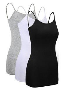3 Pièces Femmes Cami Layering de Base Long Camisole Débardeurs Ajustable Spaghetti Strap Cami Camisole Débardeur (Noir, Blanc, Gris, Taille M)