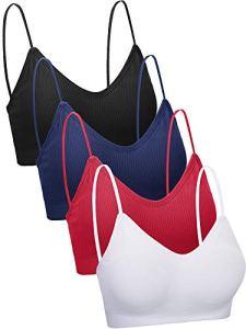 4 Pièces Soutien-Gorge Camisole en Col V Soutien-Gorge Rembourré sans Couture Soutien-Gorge de Sommeil avec Bretelles pour Femmes Filles (XL-XXL, Style Rétro)