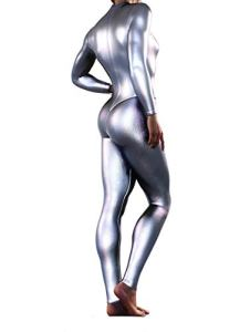 Booty Sculpted Full Metallic Bodysuit | Women's Silver Blue Raspberry Pink Jumpsuit (XXS, Silver)