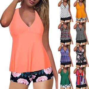 Donasty Bikinis Sets pour Femmes, 2 Pièces Maillots de Bain Taille Haute contrôle du Ventre Haut de Tankini avec Bas de Bain Maillots de Bain Boho Décontractée Floral Plage Bikini