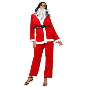 Ensemble de lingerie de Noël Zuzongyr pour femme – Pour festival – Avec ceinture, pantalon, chapeau – Rouge – Rouge – Medium