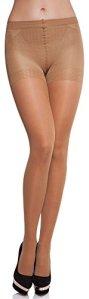 Merry Style Collant Sous-vêtement Minceur Gainant Push Up Femme MS 128 40 DEN (Beige, M)