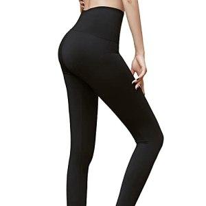 OYUEGE Leggings de yoga pour femme – Taille haute – Effet gainant – Effet gainant – Coupe ajustée – Sexy – Noir – S