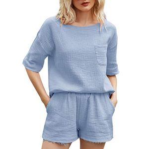XHJZ Femme Casual Wear Couleur Solid Couleur 2 pièces Tenue Lounge Ensembles à Manches Courtes Haut et Short Loungewear Ensembles avec Poches,Bleu,XL