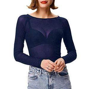 Femme Sexy Lingerie T-Shirt Camisole Transparent Crop Top Noir Haut VêTement De Nuit DéContracté Dentelle Grande Taille Blouse Chic Slim Clubwear Stripper Manches Courtes sous-vêtements (Marine, S)