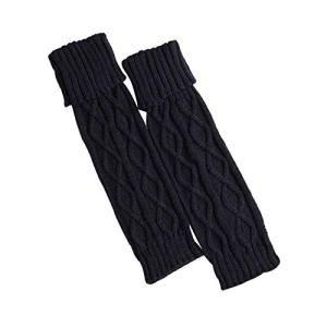 HUAHUA Long Chaussettes Femmes d'hiver Chaud en Tricot Crochet avec Bordure en Fourrure Jambières Manchettes Toppers Chaussettes Boot Solide Couleur (Color : Gray)