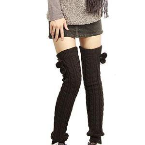 KAIWM Genouillère pour femme, manches longues pour bottes tricotées à crochet à la mode, cadeau d'hiver, parfait pour chaussettes au genou à la cheville, chaussettes sans pied, taille L
