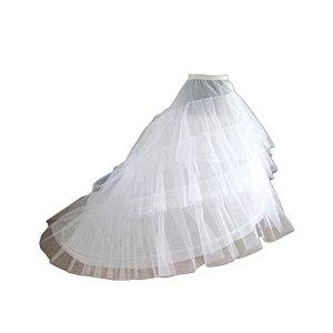 LIUWEI jupon 3 couches fils jupons blanc pour robe de mariée longue queue Accessoires de jupon (Color : WHITE)