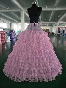 LIUWEI jupon 6 cerceaux 9 couches de dentelle jupon de mariage longues jupes de tulle longues pour femmes pour femmes robe de mariée (Color : Pink)