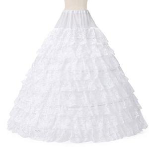 LIUWEI jupon 6 cerceaux 9 couches de dentelle jupon de mariage longues jupes de tulle longues pour femmes pour femmes robe de mariée (Color : White)