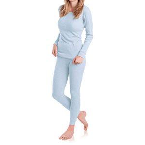 MT Ensemble de sous-vêtements thermiques et de ski pour femme – Sous-vêtements chauds à manches longues avec intérieur en polaire. – Bleu – Large