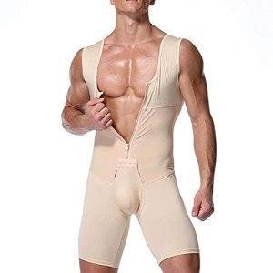 WXFASHION Hommes Shapewear, Compression des Fesses, Abdomen Minceur Bodybuilding Workout Oneies sous-vêtement (Color : Skin, Size : XL)