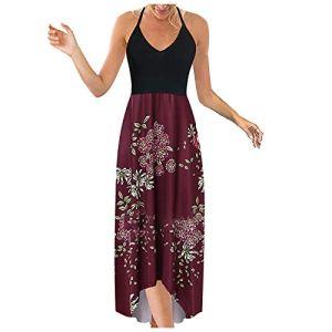 AIchenYW Robe longue d'été pour femme – Motif floral – Irrégulier – Élégant – Col rond – Grandes tailles – Respirante – Sans manches – Décontractée – Mini robe – – 40