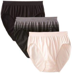 Bali Women's 3 Pack Comfort Revolution Hi-Cut Panty, Black/Blushing Pink/Excalibur/Black Variegated Stripe, 8/9