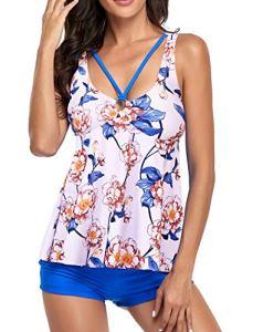 Femme Tankini Maillot de Bain Volant Dos Nu Push Up Bikini Set Beachwear 2 Pièces Imprimé Floral Fronde Shorty Swimwear (Blanc/Bleu Fleur XL)