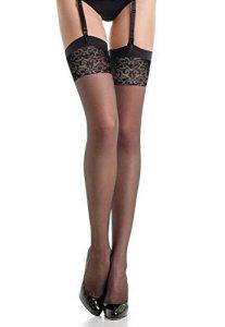 Fiore – Bas nylon voile noir à couture 20d pour Porte-Jarretelles (4, Noir)